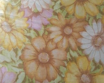 Reserved for MaryAnne**  Vintage Flat Single Sheet - Autumn Colours - Flower Power