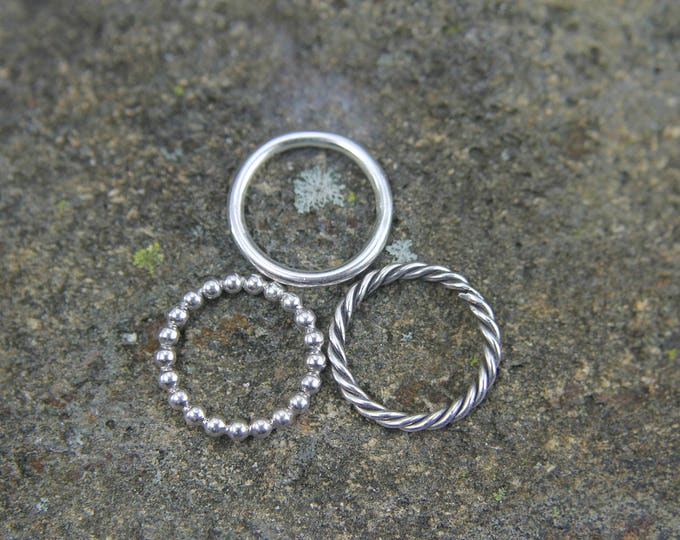 Stackable Sterling Silver Ring, Thin Simple Round Band, Twisted Ring, or Bead Band Gift for Him or Her, Size 4 to 15, Mens or Ladies Jewelry