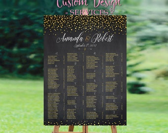 Wedding Seating Chart Poster, Wedding seating chart alphabetical, Wedding Seating Chart, Gold Polka Dots - US_WC0203b