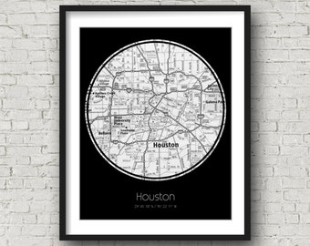 Houston Artwork Houston Birthday Gift for Him Valentines Day Gift for Girlfriend - Photographed Road Atlas Artwork with a Unique Design