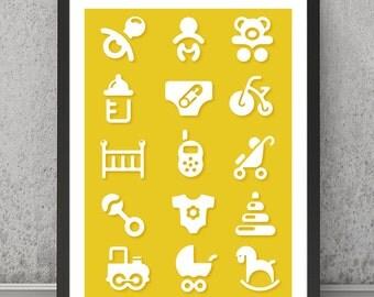 Nursery print, Nursery graphic print, Nursery poster, Nursery art, Nursery symbols poster, Modern nursery art, Modern nursery decor