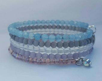 Purple, blue and grey memory wire bracelet