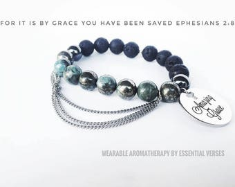 Amazing Grace -Stainless Steel charm- Wearable Aromatherapy -Essential Oil Diffuser - Essential Oil Bracelet Diffuser