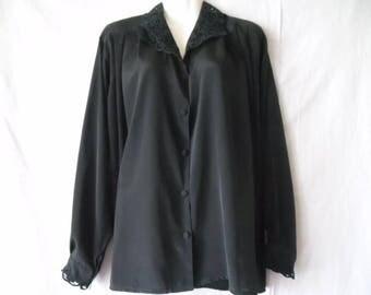 Vintage Black Embroidered Collar Shirt,Long Sleeves Buttons Front Blouse 90s,Elegant Black Embroidered Womens Blouse,Vintage Black Shirt