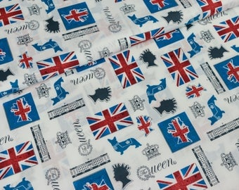 White cotton fabric London (7,50 EUR / meter)