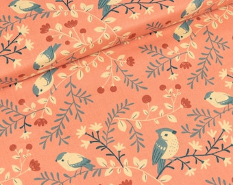 Coral fabric of birds and branches (19,90 EUR / meter)