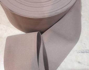 "4"" wide, MOCHA ELASTIC, solid coffee,  garterized, colored garter, elastic, waistline. rubberized, garment attachment, decorative"