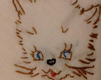 Kitty Cat Hanky hand embroidered cat face on Handkerchief Purrfect for Cat Lovers