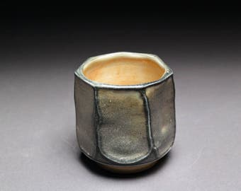 Handmade Porcelain Faceted Tea Bowl - Shino