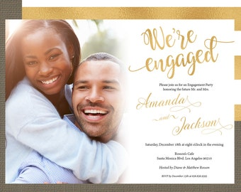 Gold and white wedding photo invitations  - Gold and white wedding invitation - Wedding photo invitations - Printed or PRINTABLE  #WDH14K