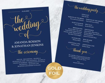 Wedding Program Template - Navy blue and gold Wedding -  Wedding Program Printable -  Wedding Template - Downloadable wedding #WDH812227