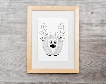 Drawing, illustration, holidays Christmas Reindeer decoration