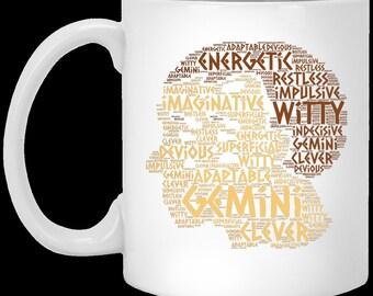Zodiac Gemini Birth Sign Coffee Mug Star Horoscope Greek Astrology Twins Cup