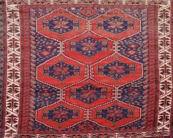 Vintage hand knotted rug 100% wool