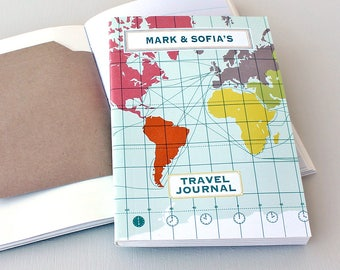 Travel Journal-Personalised Notebook-World Map-Gift For Student-Travel Journal With Pockets-Recycled Paper Notebook-Honeymoon Gift
