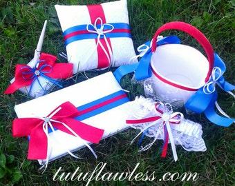 Wedding Set, Ring Bearer Pillow, Flower Girl Basket, Garter, Guest Book/Pen