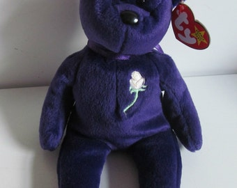 Rare Limited First Edition Princess Diana Beanie Baby, REDUCED With no Space Tag, 1997 made in Indonisia, P.E.Pellets in Pristine Condition