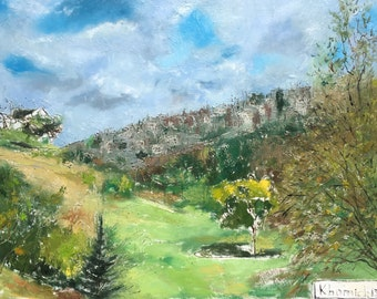 Oil Colorful  Landscape Painting Jerusalem oil Painting Art for sale online Professional Artist 36 inch Trees painting Blue Sky