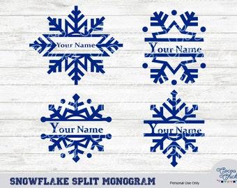 Snowflake Split Monogram SVG for Silhouette and Cricut