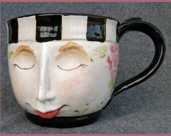 Ceramic face soup mug: Samantha