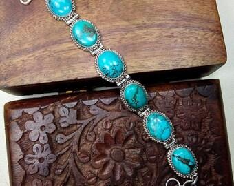 Turquoise Bracelet Sterling Silver Bracelet,Gemstone Bracelet ,Genuine Turquoise Jewelry-Crystal  Turquoise silver retro bracelet Gift S1142