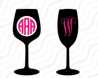 Wine SVG, Wine Glass SVG, Wine Monogram SVG Cut table Design,svg,dxf,png Use With Silhouette Studio & Cricut_Instant Download