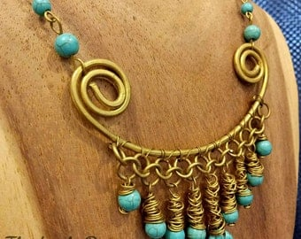 boho wire and beads necklace