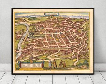 Old city map of Vilnius - Vilna - Wilno on linen Lithuania 23 x 31 inch.Metropolis Poland map decor. lithuanian art. retro map. vintage map.