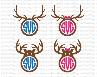 Christmas svg, Reindeer monogram svg, christmas monogram svg dxf jpeg cutting files for Silhouette Cameo, Portrait, Curio, Cricut