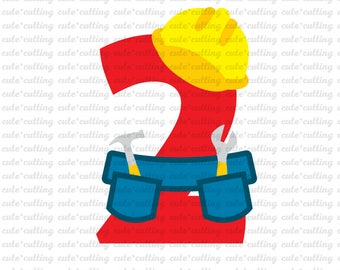 Two Birthday svg, Boy Birthday svg, Construction birthday svg, outfit svg, dxf cutting files for Silhouette Cameo, Portrait, Curio, Cricut