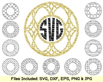 Circle Monogram Frames Svg Cutting Files for Cricut Silhouette, monogrammed svg design dxf cut files mug shirt vinyl sign decal Digital file