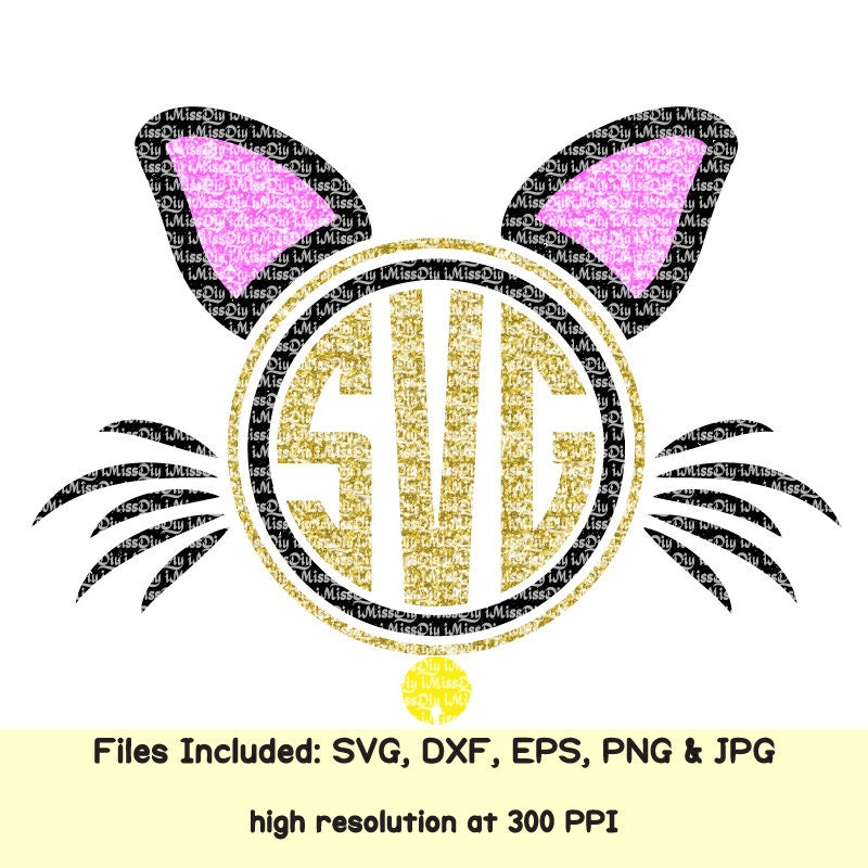 kitten cat ears monogram svg halloween kitty face cats meowied meow svg files for cricut