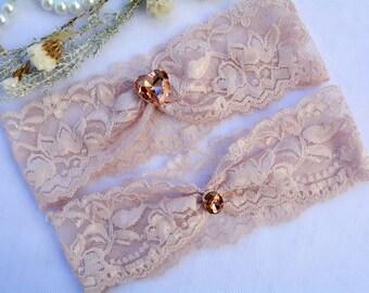 Garter Blush, Lace Garter Set, Stretch Lace Garter, Wedding Garter Set, Crystal Garters, Blush Pink Garter, Wedding Garter Blush, Garter Set