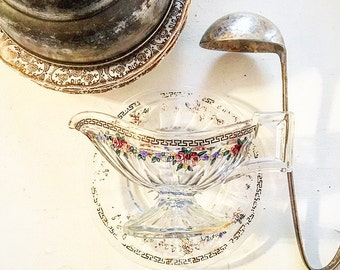 Vintage Hand Painted Glass Gravy Boat