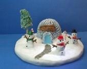 winter snowman and igloo christmas decoration