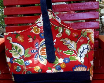 Shopping bag, Red print and denim with red top stitch