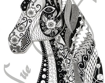 Henrietta Horse Zentangle Art Print
