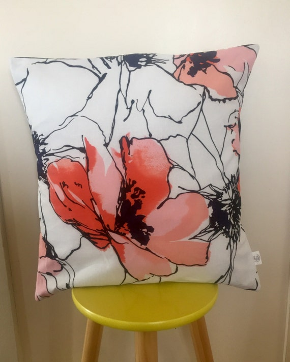 Printed poppy cushion cover. Black, white, red