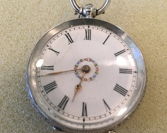 1860's French movement key wind 6s pocket watch silver case (For Repair)
