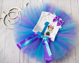 Birthday Minnie tutu outfit Minnie Birthday Tutu Set blue purple minnie mouse baby tutu Minnie party Europe minnie mouse 1st birthday outfit