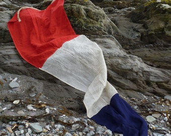 Tricolor Nautical Flag. Red white and blue maritime theme