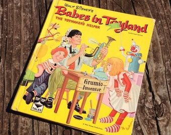 "Vintage children's book cover only Walt Disney's ""Babes in Toyland"" Authorized Edition/vintage children's book cover/book cover/CLEARANCE"