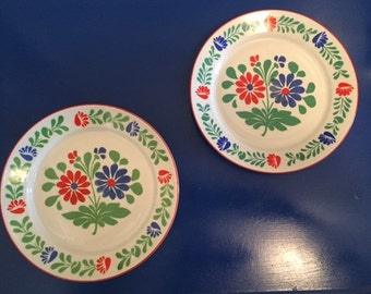 Mid-Century (2) Snack Plates by Alfoldi Porcelin Hungry- 7 1/2 diameter-FREE SHIPPING!!