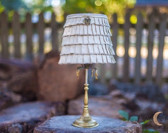 Gorgeous Rustic Chic Antique Gold Lamp with Hand Ruffled Burlap Shade Adorned with Key and Locket Gold Charms