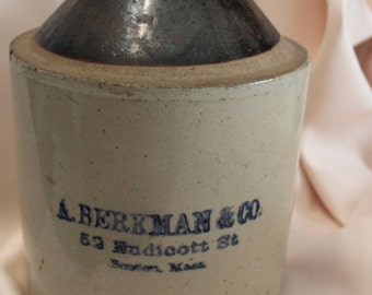 Home Decor- Vintage Berkman Crock with name and address