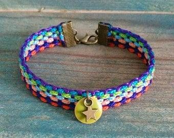 Multicolored braided fabric Cuff Bracelet