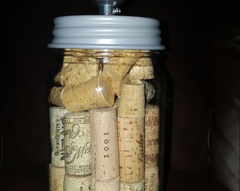 Mason Jar Wine Corks Table Lamp