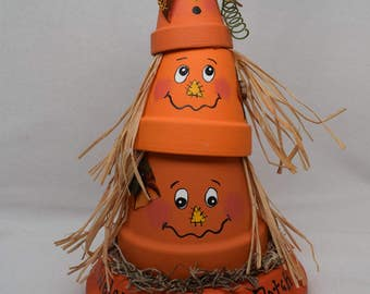 Halloween Pumpkins, Clay Pot Pumpkin Patch Decoration - Clay Pot Halloween Decor - Stackable Pumpkins - Fall Decor