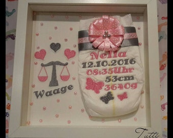 Embroidered diaper in the frame, gift, birth, baptism