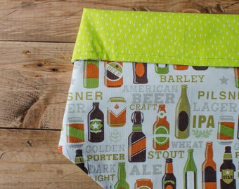 JARED- Reversible, beer, manly, boy, lime green, orange, green, brown, polka dot, tie on, pet accessory, dog bandana